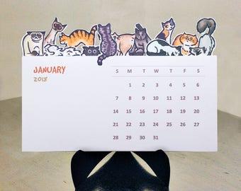 Cats Die Cut 2018 Illustrated Desk Calendar