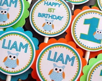 Hip Birthday Owl Cupcake Toppers for Boys
