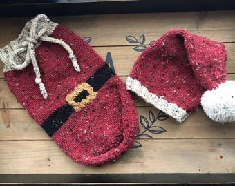 Newborn cocoon and hat set, Santa baby cocoon and matching hat set.