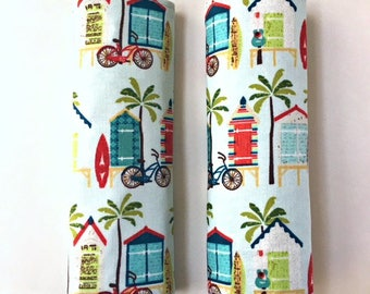 Travel luggage handle cover, 2 beach luggage handle wraps, bag handle cover, luggage tag, suitcase tag, vacation bag tag, handle wrap, gift