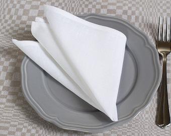 White linen napkins, set linen cotton napkins, 10pc, napkins, natural linen napkins, dinner napkins, white linen napkins