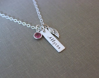 Sterling silver memorial necklace, Angel wing, hand stamped skinny name plate bar, Crystal birthstone charm, Sympathy gift, Loss Jewelry