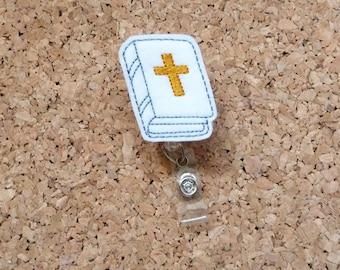 Bible Badge Reel, Christian ID Badge Reel, Felt Badge Reel, Lanyard, Retractable Name Holder, Nurse, Medical Workers,  578