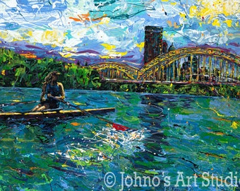 Water painting, Rowing on the River, Pittsburgh Skyline by Johno Prascak Art print