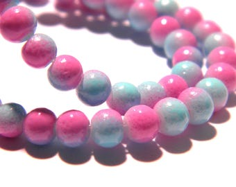 100 glass beads 4 mm - 2 colors - pink and blue-glass - G57-6