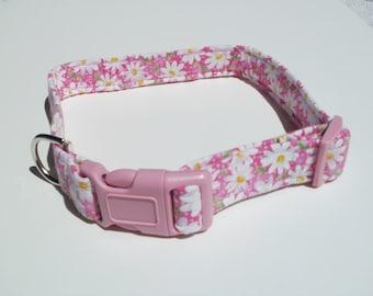 Custom Dog Collars, Girl Dog Collar, Pink Daisies, Large Dog Collar, Small Dog Collar, Dog Collars, Dog Supplies, Dog Accessory