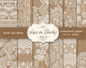 Burlap Lace Digital Paper, Burlap Lace Paper,  burlap background, white lace background, burlap lace texture - instant download