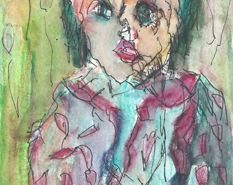 Original ACEO Watercolor and ink Painting-  In the Festival