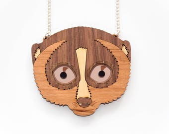 Slow Loris Necklace. Primate Necklace. Statement Necklace. Laser Cut Wood. Nycticebus Pendant Necklace. Wooden Loris. Eco Friendly Necklace