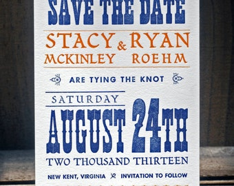 Custom Save the Date Announcement - Letterpress Wedding Invitation - Hand Printed Vintage Invites