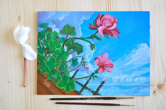 Dipinto ad olio originale con gerani Paesaggio primaverile