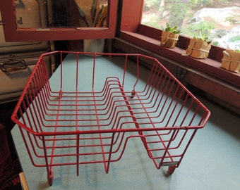 SALE - Rubbermaid Dish Drain, Red, Rubbermaid plaque on front, drainer, dish rack, Pure Vintage