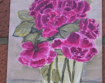 6x8, roses, vase, original, painting, on  canvas, board