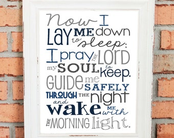 Now I Lay Me Down to Sleep Prayer – Boy – Bedroom – Newborn Boy - Navy Blues and Gray - Christian Art - Baptism Gift - Christening Gift