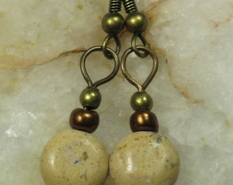 Jasper Earrings Beaded Latte Jasper Stone Bronzetone Glass Antiqued Brass Dangle Hook Earrings