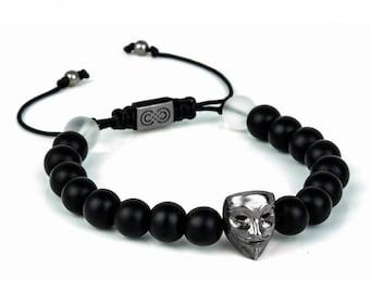VENDETTA   Mens Beaded Bracelet, Mens Bracelet, Gunmetal, 925 Sterling Silver, Bracelet for Men, Gift for Men, Mens Jewelry, Autumn Sale