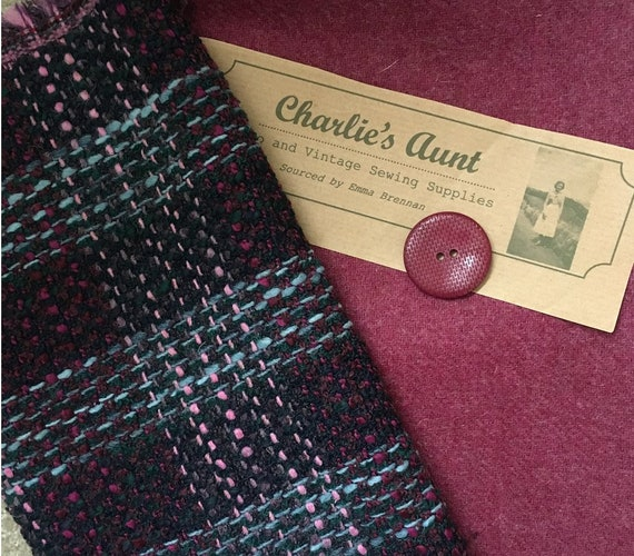 One-off pack of TWO beautiful pieces of toning British fabric in deep magenta/plum tones, one Scottish tweed and one plaid tweed