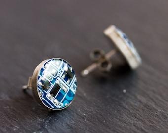 Sterling silver studs with Circuit board piece - 12 mm - modern geeky jewelry, stud earrings, cyberpunk
