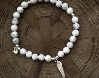 White Howlite Sterling Silver Angel Wing Charm Bracelet