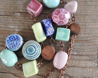 Ceramic Necklace, Copper Necklace, Funky Necklace, Pink, Blue, Green, Rusty Brown, Clay Necklace, Copper Chain, Copper Jewelry