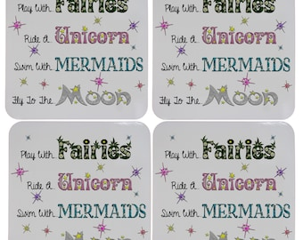 Set of Four Play with Fairies Fly to the Moon Cork Bottom Coasters