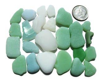 Sea Glass Bulk Lot - 24 pieces of milk glass, jadeite in shades of green, white and aqua, Seaglass