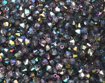 100 St. Bicone Black Diamond AB, 3 mm M.C. crystal beads