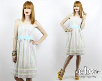 1970s Sundress 1970s Dress 70s Dress Vintage 70s Pastel Belted Sundress XS S Summer Dress Striped Dress Pastel Dress Vintage Sundress