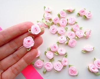 25 blush pink small ribbon roses, satin ribbon roses, pink ribbon roses, sew on flowers, small pink ribbon flowers, pink flower appliques