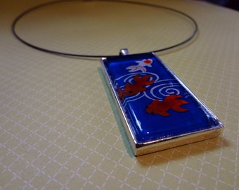 Navy Blue Goldfish Washi Paper Pendant