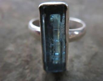 NATURAL BLUE OCEAN/Raw Aquamarine Silver Ring/Vietnamese natural Aquamarine/Rough Crystal ring/Silver ring