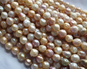Nucleated edison pearl strand, edison pearl strand, wholesale 11.5-13mm edison pearl strand, freshwater pearls, full strand necklace,FRE-004