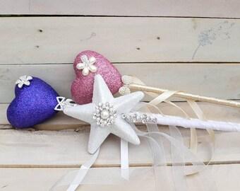 Flower girl bridesmaid wand, princess wand, fairy wand, magic wand, heart, star, glitter, sparkle, gift