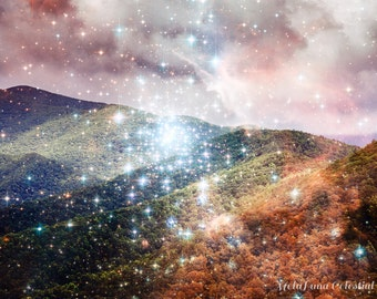 Sparkly Galaxy Mountain Print, Unique Asheville NC Wall Art, Blue ridge mountains, Cosmic hubble telescope art celestial, North Carolina Art