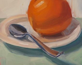 Scooping Oranges- Original Oil Painting on 6x6 inch Ampersand Gessobord