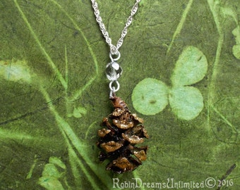 Redwood Pinecone with Crystal Necklace #68-8