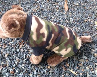 Dog leopard fleece pullover , Fleece jumper . size small
