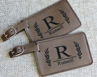Personalized Leather Luggage Tag, Custom Engraved Luggage Tag, Bag Tags Personalized, Engraved Luggage Tag, Seven Colors Available