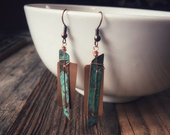 Copper and Patina Angle Earrings