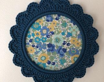 """Navy Blue crocheted frame """"Charlotte""""."""