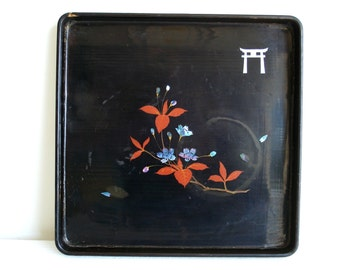 Vintage Tray Asian Black Lacquer Distressed Tray
