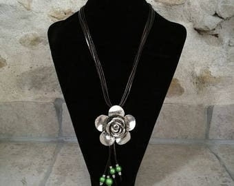 Long brown leather, flower pendant, necklace beads