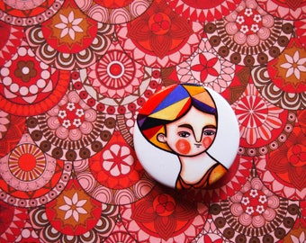 Autumn pin, portrait pin, orange and white button brooch