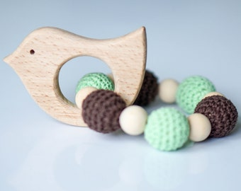 Wooden Baby Teether, Baby Rattle, Infant Toys, Baby Shower Gift, Neutral Baby Teether