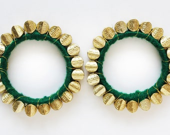 30% off Green & Gold Bangle/Beaded Bracelet/ Beaded Bangle/ Ethnic Bracelet/ Chunky Bracelet/ Bangle Bracelet/ Cuff Bracelet - 2 PIECES