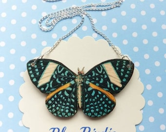 Butterfly necklace butterfly jewelry butterfly gifts for her blue spot butterfly bib necklace butterfly jewellery insect jewelry
