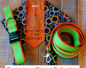 Dog Leash and Collar with Coordinating Dog Bandana