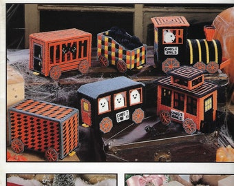 Holiday Trains Plastic Canvas Pattern Book, Halloween Ghosts Rails, Holiday Decor, Christmas Santa Rails Train, Easter Bunny Rails