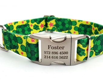 TURTLES Polyester Webbing Dog Collar with Laser Engraved Personalized Buckle