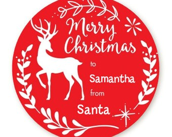 Antlers - Personalized Round Christmas Sticker Labels - Deer Merry Christmas Stickers - Red Labels - Available in 7 Different Sizes